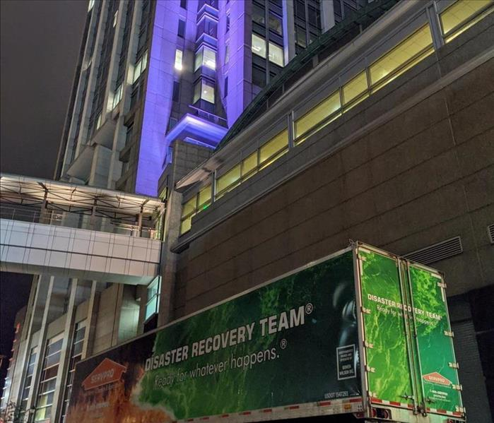 Disaster Recovery Team truck outside of the RSA Battle House Tower